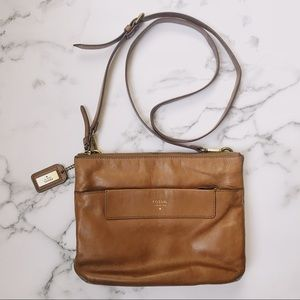 Fossil Cognac Saddle Leather Crossbody Bag